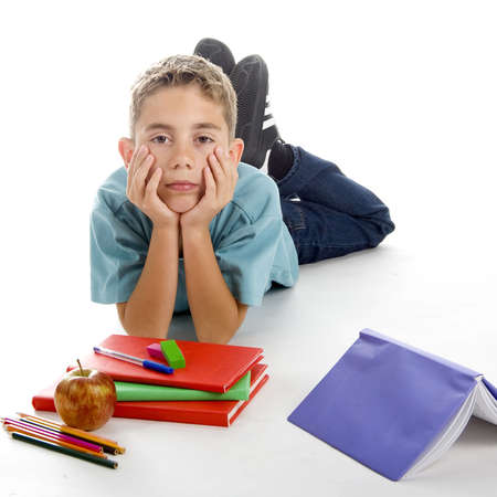 this boy isn't happy to go back to school Stock Photo - 5237003