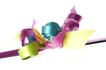 a close-up from a colorful bow, isolated on a white background photo