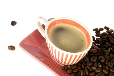 coffeecup: a colorful coffeecup with coffeebeans on white