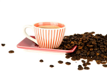 coffeecup: a colorful striped coffeecup with coffee and coffeebeans Stock Photo