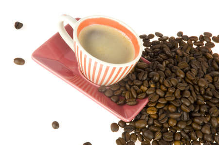 coffeecup: a coffeecup with coffee from above with coffeebeans Stock Photo