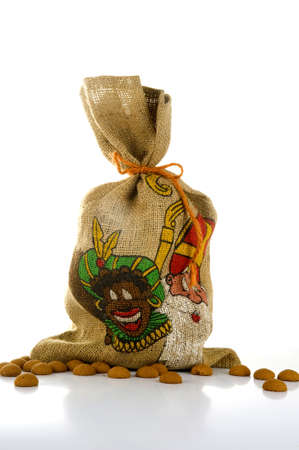 zwarte: the bag with presents and gingernuts. Zwarte piet is holding this on Sinterklaas in Holland Stock Photo