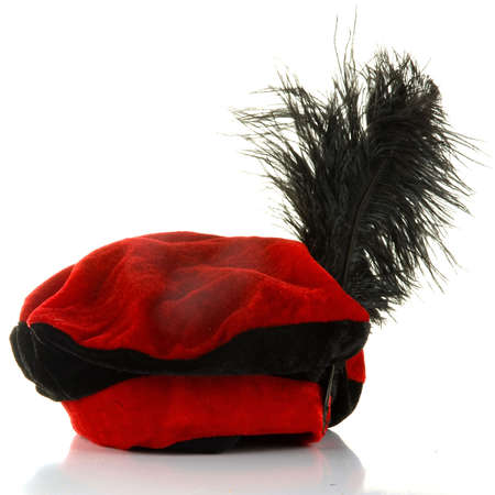 a hat of the dutch figure called zwarte piet. Stock Photo
