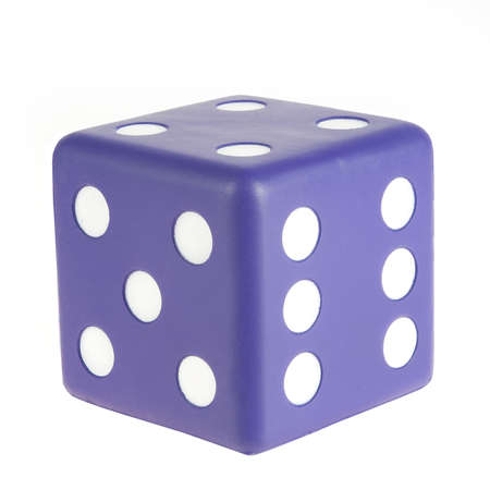 a big purple dice on white