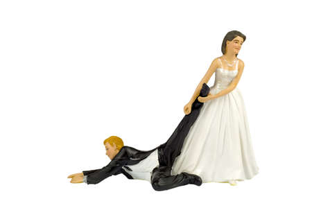 Bride abusing Groom Stock Photo