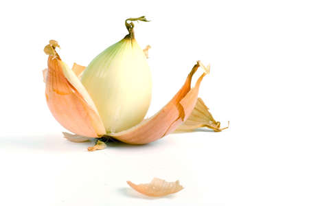 a peeled onion isolated on a white background Stock Photo