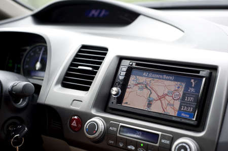a dashboard with navigation of a car