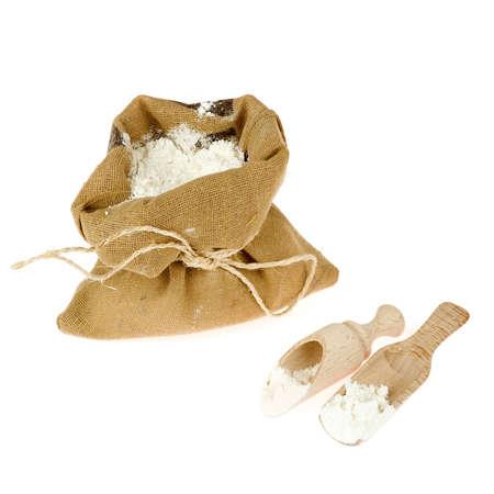 closeup of white flour in a bag