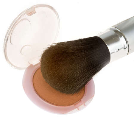 rouge: a closeup of a brush with rouge Stock Photo