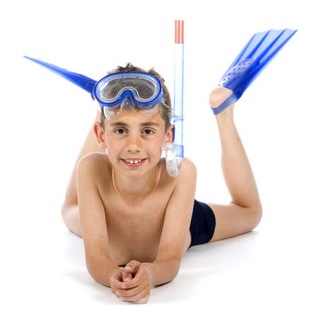 a boy is ready for swimming