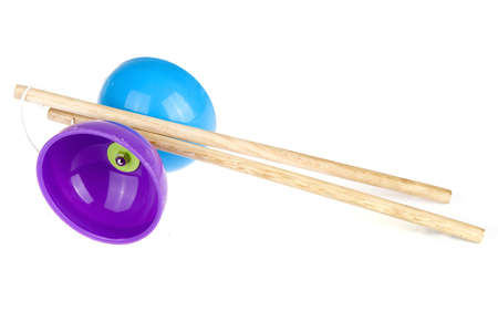 a colorful diabolo with sticks