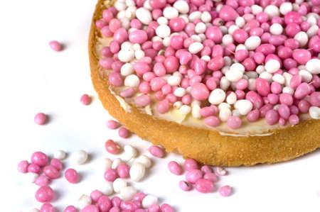 biscotte: une rusk avec la souris blanches et roses, une tradition n�erlandaise Banque d'images