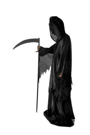 sense: eine Sense, gekleidet in schwarz auf wei�em Hintergrund Lizenzfreie Bilder