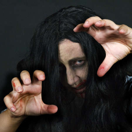 a crazy women, dressed for halloween Stock Photo