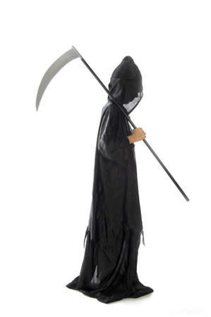 a scythe, dressed in black, on a white background Stock Photo - 7958072