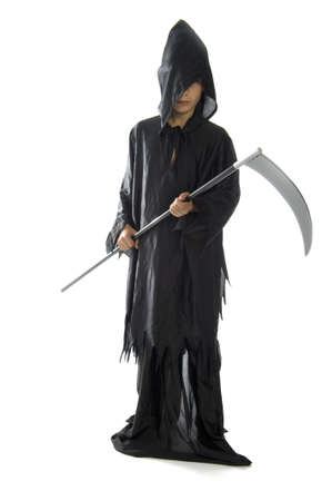 a scythe, dressed in black, on a white background photo