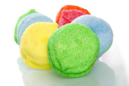 suger: a lot of colorful marshmallows on white Stock Photo
