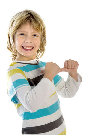 a boy pointing to himself on a white background