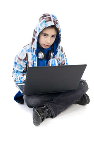 a boy with a laptop on a white background photo