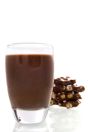 a glass with chocolate-milk