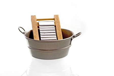 a washtub with a washboard, old fasioned Stock Photo