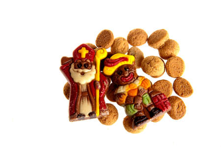 sint: Sweet candy -gingernuts- and a chocolate sint and piet for a dutch holiday called sinterklaas