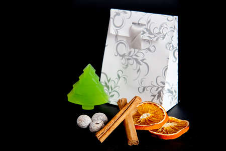 paperbag: a paperbag for christmas with a soap tree and spices