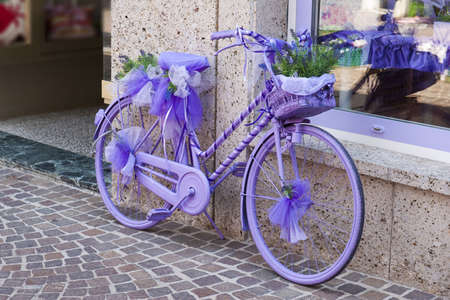 a decoratieve, purple bike Stock Photo