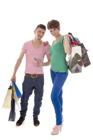 go shopping: a happy couple go shopping Stock Photo