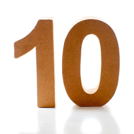 number ten: Number Ten on a white background Stock Photo