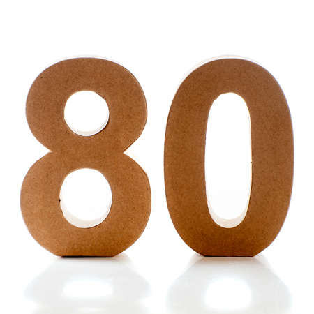 eighty: Number Eighty on a white background