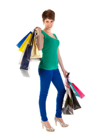shoppingbags: a young women with a lot of shoppingbags