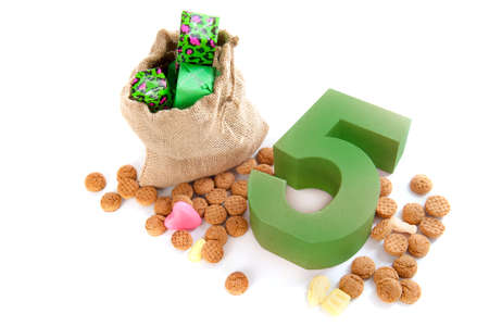 gingernuts: A jute bag with gingernuts, for celebrating the dutch holiday   sinterklaas   on the fifth of December Stock Photo