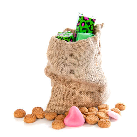 gingernuts: A jute bag with gingernuts, for celebrating the dutch holiday  sinterklaas  on the fifth of December