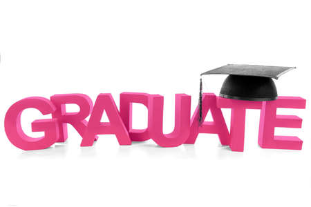The word  graduate  with the hat on a white background