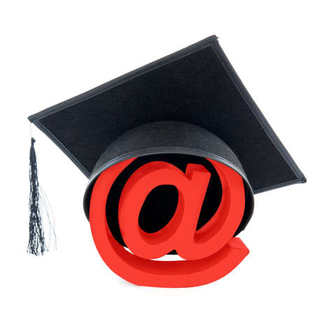 Graduate as computer specialist, on a white background photo