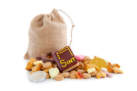 A jute bag full of pepernoten, for celebrating a dutch holiday  Sinterklaas   on the fifth of December Stock Photo