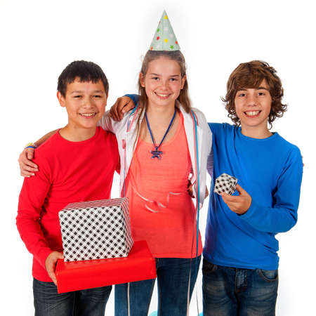 a birthday girl with her friends with presents and balloons on a white background photo