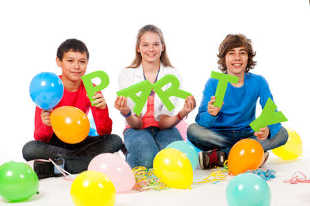 Teenage Party Time with balloons on a white background photo