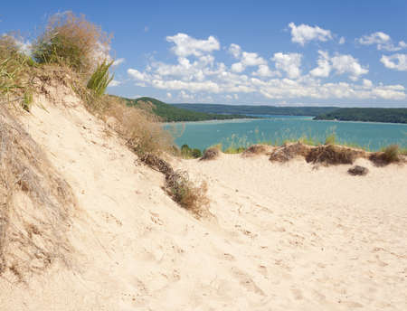 duna: Una duna populares con vistas a Glen Lago a Sleeping Bear Dunes National Lakeshore.