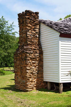 The chimney attached to the historic Gregg Cable House at Cades Cove, Great Smoky Mountains National Park, built in 1879.