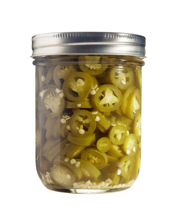 Freshly canned jalapenos (Capsicum Annuum) isolated on a pure white background. photo