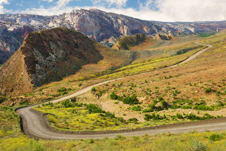 off track: A beautiful scenic view of Cottonwood Canyon Road, Grand Staircase-Escalante National Monument, Utah. Stock Photo