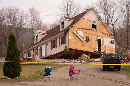 LAPEER COUNTY, MI - MARCH 16  A home heavily damaged by an F2 tornado that swept through Oregon Twp in Lapeer County, MI on March 15, 2012  The house was lifted from its foundation  Stock Photo - 12926374