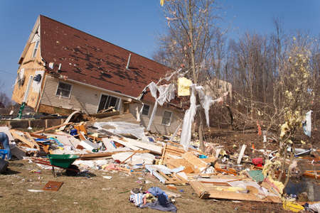 LAPEER COUNTY, MI - MARCH 16  A home heavily damaged by an F2 tornado that swept through Oregon Twp in Lapeer County, MI on March 15, 2012  The house was lifted from its foundation  Stock Photo - 12926376