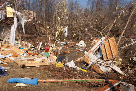 LAPEER COUNTY, MI - MARCH 16  A home heavily damaged by an F2 tornado that swept through Oregon Twp in Lapeer County, MI on March 15, 2012  The house was lifted from its foundation  Stock Photo - 12926377