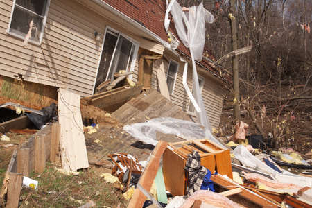 LAPEER COUNTY, MI - MARCH 16  A home heavily damaged by an F2 tornado that swept through Oregon Twp in Lapeer County, MI on March 15, 2012  The house was lifted from its foundation  Stock Photo - 12926375