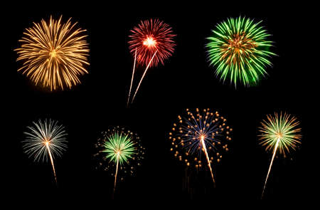 fire show: Colorful assorted fireworks selection on a black background  Stock Photo
