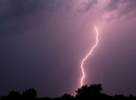 Lightning strike in a thunderstorm