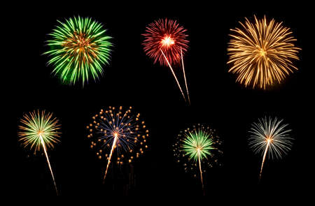 holiday lights display: Colorful assorted fireworks selection on a black background  Stock Photo